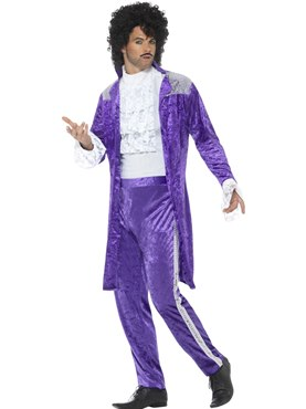 Mens 80's Purple Musician Costume - Back View