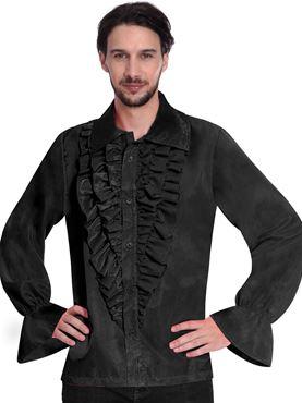 Mens Black Satin Shirt