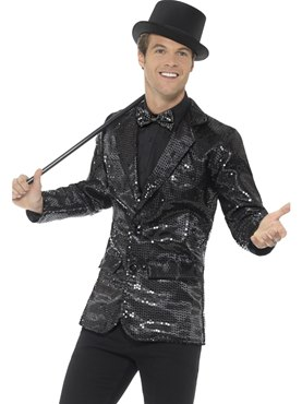 Mens Black Sequin Jacket Couples Costume