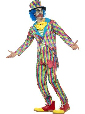 Mens Deluxe Patchwork Clown Costume - Back View