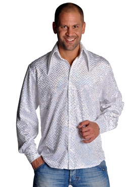 Mens Disco Sequinned White Shirt