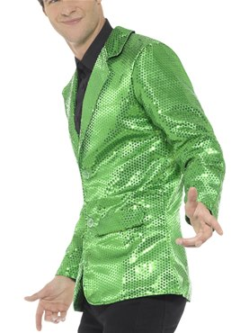 Mens Green Sequin Jacket - Back View