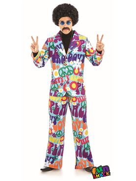 Mens Groovy Hippie Suit Costume - Back View