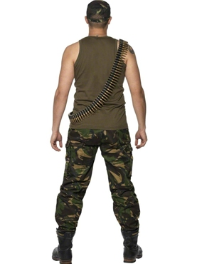 Adult Mens Khaki Camo Army Costume - Side View