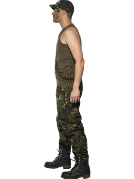 Adult Mens Khaki Camo Army Costume - Back View