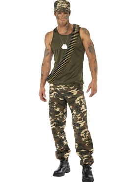 Adult Mens Khaki Camo Army Costume