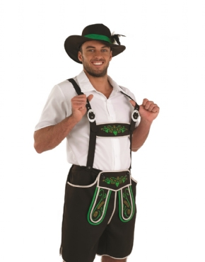 Adult Bavarian Man Lederhosen Costume - Back View