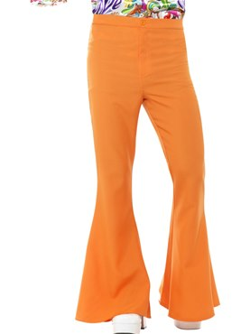 Mens Orange Flared Trousers