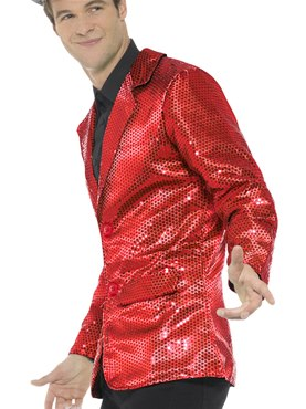 Mens Red Sequin Jacket - Back View