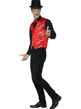 Mens Red Sequin Waistcoat - Back View