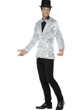 Mens Silver Sequin Jacket - Back View