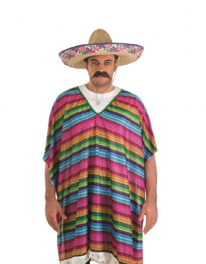 Adult Mexican Striped Poncho - Back View