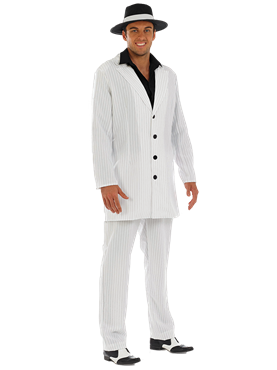 Adult Mens White Gangster Costume Couples Costume