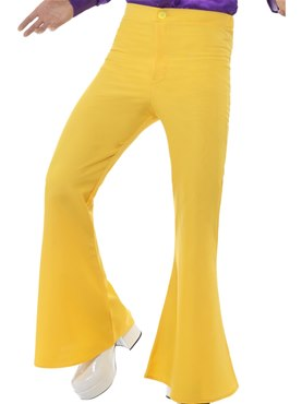 Mens Yellow Flared Trousers