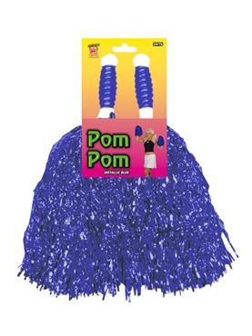 Metallic Blue Cheerleader Pom Poms - Back View