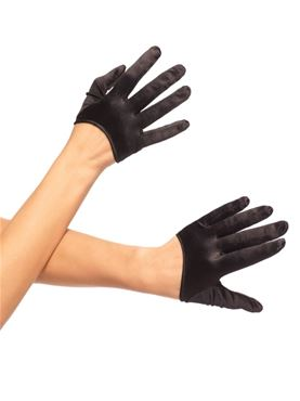Adult Mini Cropped Black Satin Gloves
