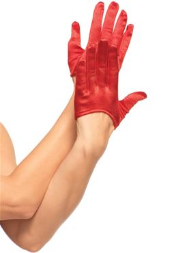 Adult Mini Cropped Red Satin Gloves