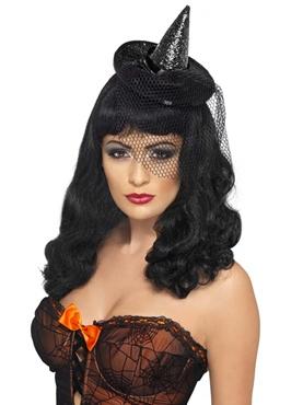 Mini Witches Black Glitter Hat