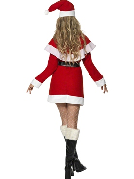 Adult Miss Santa Red Fleece Costume - Side View