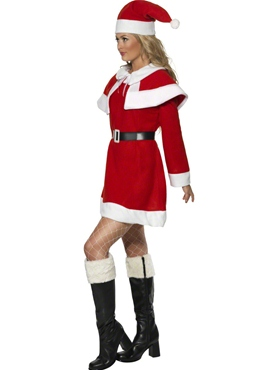 Adult Miss Santa Red Fleece Costume - Back View