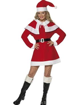Adult Miss Santa Red Fleece Costume Thumbnail
