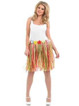 Adult Multi Coloured Grass Skirt - Back View