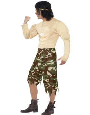 Adult Muscleman Soldier Costume - Back View
