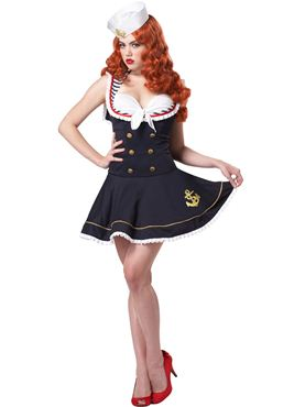 Adult Nautical Doll Sailor Costume - Back View