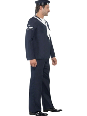 Adult 1940's Naval Seaman Costume - Back View