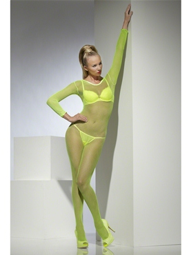 Adult Neon Green Crotchless Fishnet Body Stocking - Back View