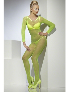 Adult Neon Green Crotchless Fishnet Body Stocking