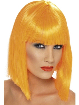 Neon Orange Glam Wig