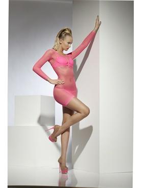 Adult Neon Pink Lattice Net Dress - Back View