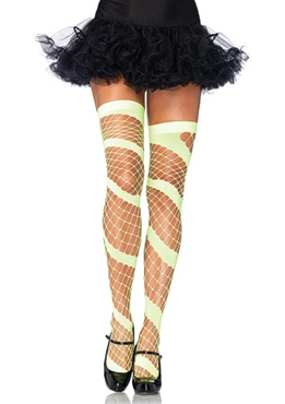 Neon Green Swirl Thigh Highs
