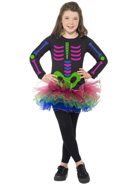Child Neon Skeleton Girl Costume Couples Costume