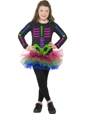 Child Neon Skeleton Girl Costume Thumbnail