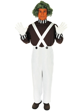 Adult Oompa Loompa Factory Worker Costume with Wig