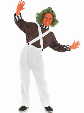 Child Oompa Loompa Factory Worker Costume - Back View