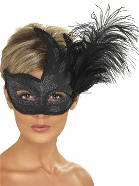 Ornate Black Columbina Eyemask