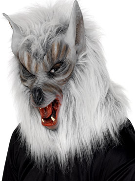 Overhead Wolf Mask Silver Rubber Fur