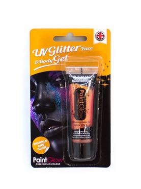 Paintglow UV Peach Glitter Body Gel