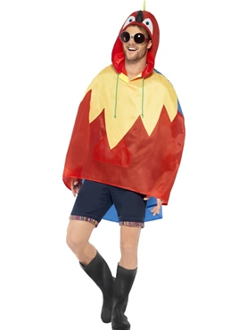 Parrot Party Poncho Festival Costume - Back View