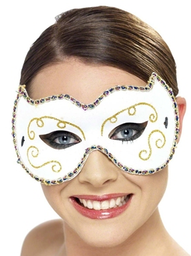 Adult Persian White and Gold Eyemask