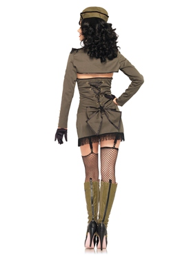 Adult Pin Up Army Girl Costume - Back View