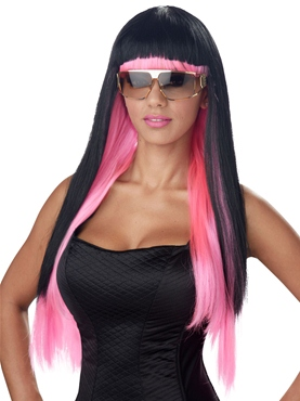 Pink and Black Diva Glam Wig