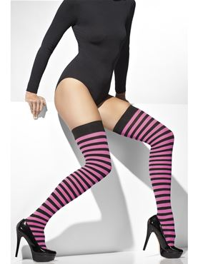 Pink and Black Striped Thigh High Stockings - Back View