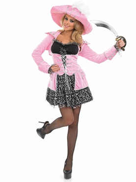 Adult Pink Glitzy Pirate Costume - Back View