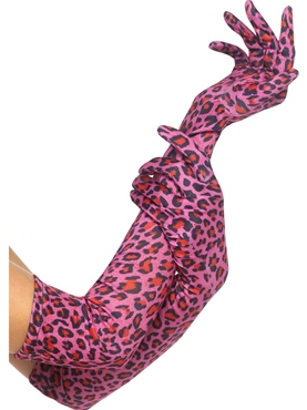Pink Leopard Print Gloves