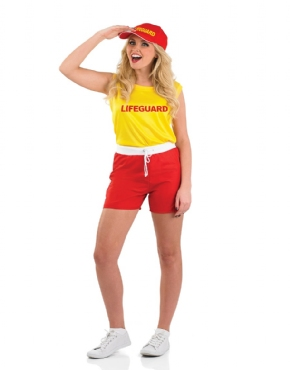 Adult Female Lifeguard Costume - Back View
