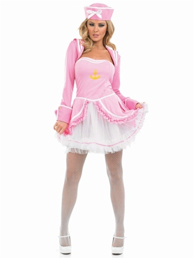 Adult Pink Tutu Sailor Girl Costume - Back View